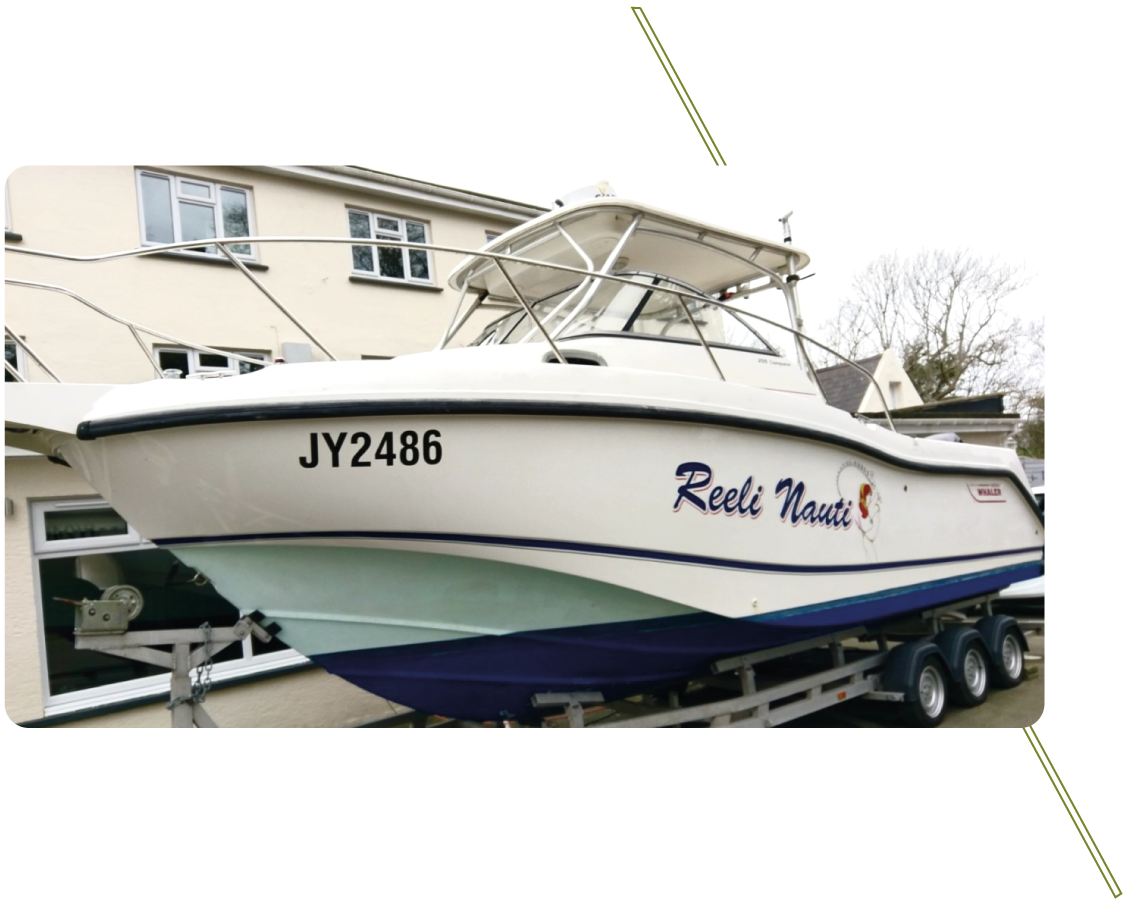 Sign Solutions Wrapping Services - Boats - Signtech Blueprint Jersey